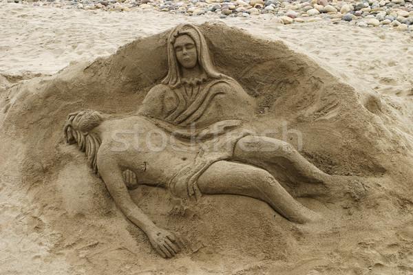 Zand sculptuur jesus strand Mexico vorm Stockfoto © searagen