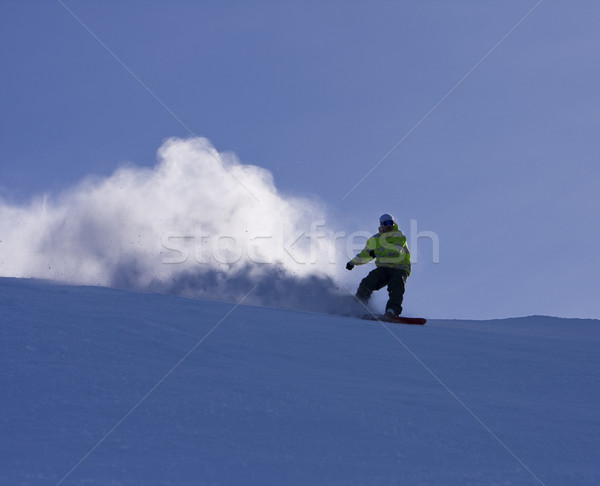 Snowboard Turn With Snow Spray Stock photo © searagen