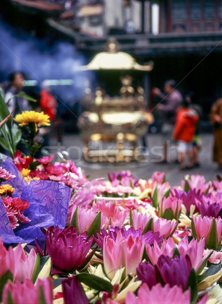 Flower Offerings At Lungshan Temple Stock photo © searagen