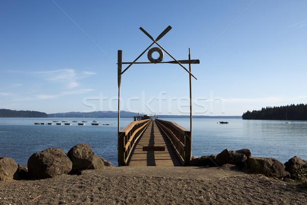 Tekne dok yaz kampı uzun kullanılmış kayıkla gezme Stok fotoğraf © searagen