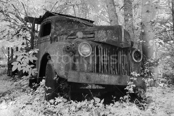 öreg teherautó infravörös rozsdás elhagyatott vidék Stock fotó © searagen