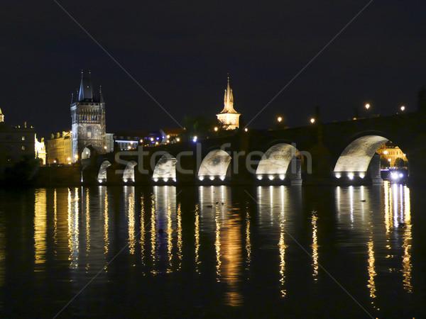 Prague At Night Stock photo © searagen
