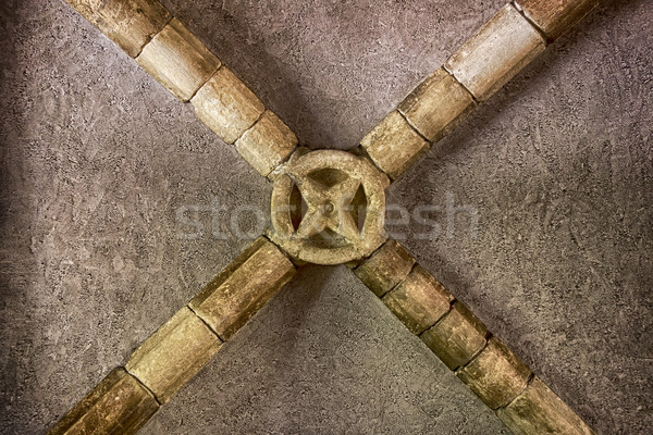 Ceiling Beams With Circle Ornament Stock photo © searagen