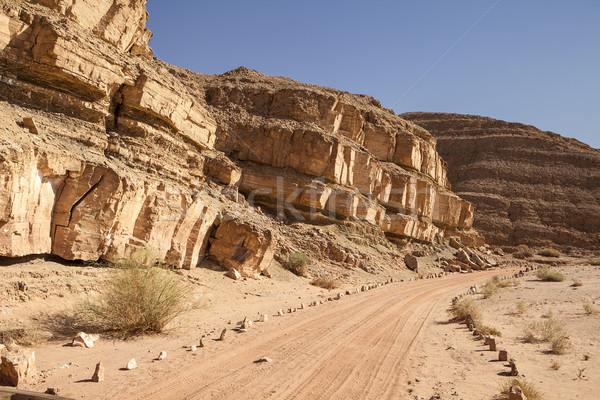 Estrada de terra deserto pedras linha Foto stock © searagen