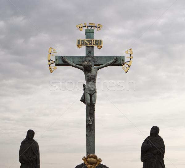Statue jesus croix christ crucifix hébreu Photo stock © searagen