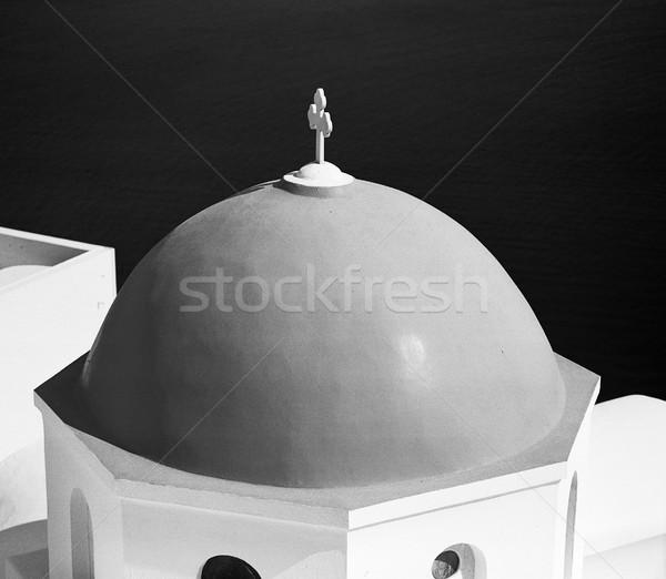 Kilise kubbe santorini adası ayrıntılı görmek bir Stok fotoğraf © searagen
