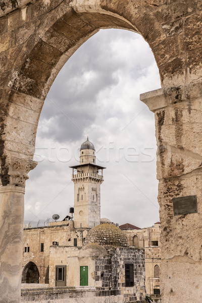 Chain Minaret Through Western Arcade Stock photo © searagen