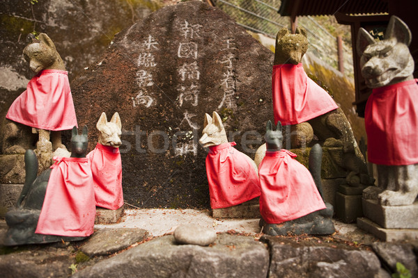 Red Fox Guardians at Shinto Shrine Stock photo © searagen