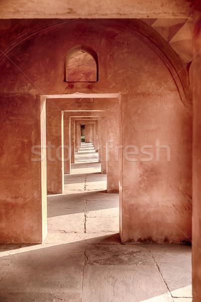 Kő Taj Mahal hosszú piros homokkő fény Stock fotó © searagen