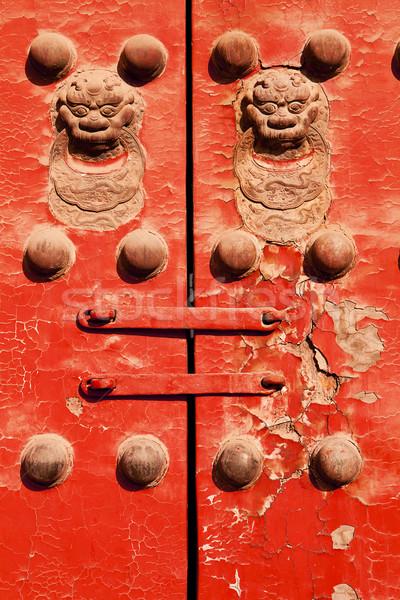 Vermelho porta chinês pormenor par portas Foto stock © searagen