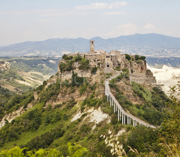 Heuvel stad middeleeuwse wereld voetganger brug Stockfoto © searagen