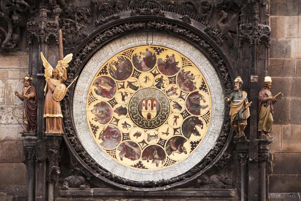 Naptár Prága csillagászati óra díszes tárcsa Stock fotó © searagen