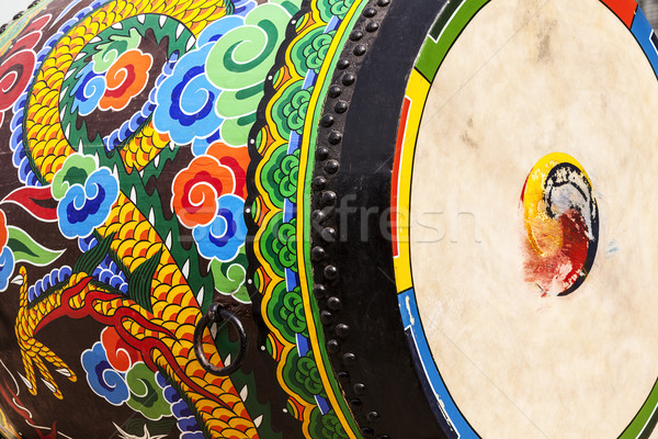 Cérémonial tambour détaillée vue peinture Photo stock © searagen