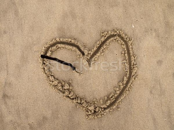 пляж формы сердца песок сломанной Stick Сток-фото © searagen