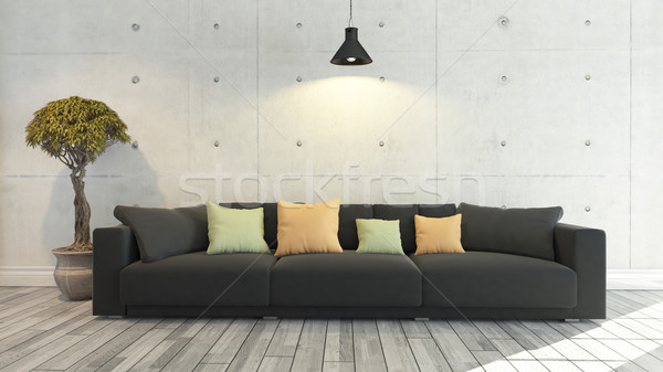 Siyah bez kanepe beton duvar şablon Stok fotoğraf © sedatseven
