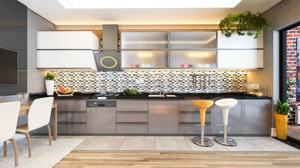 Cappuccino couleur cuisine design idée Photo stock © sedatseven