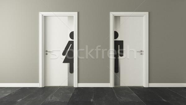 白 トイレ ドア 男性 女性 壁 ストックフォト © sedatseven
