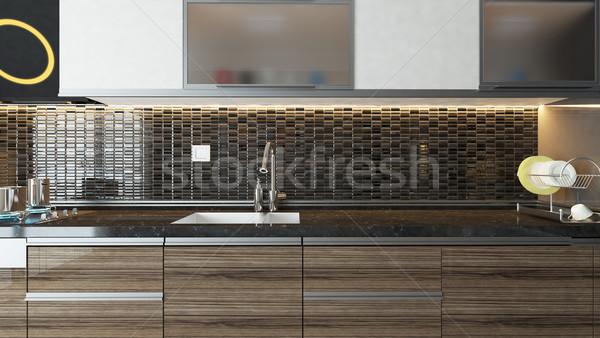Stock photo: modern kitchen interior design
