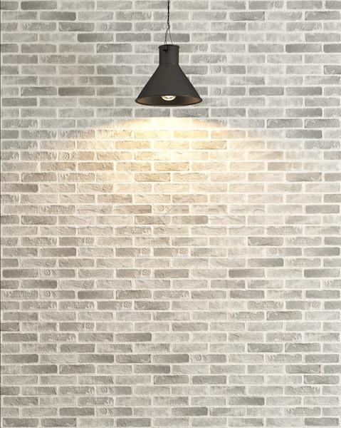 Stok fotoğraf: Beyaz · tuğla · duvar · dekorasyon · spot · ışık