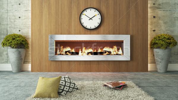 Salon cheminée bois design 3D Photo stock © sedatseven