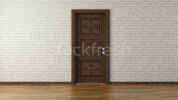 white brick wall with door3d rendering Stock photo © sedatseven