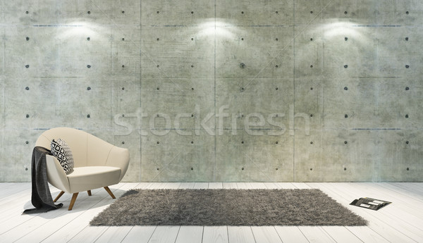 concrete wall loft style decor with single seat, background, tem Stock photo © sedatseven