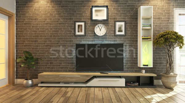 tv room interior design 3d rendering Stock photo © sedatseven