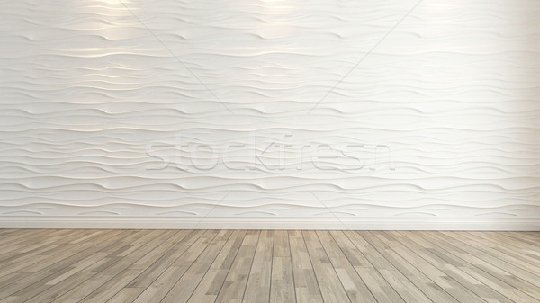 wave wall decoration with wooden floor rendering Stock photo © sedatseven