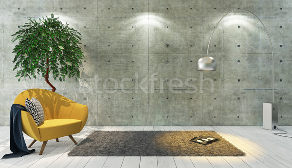 concrete wall loft style decor with yellow single seat, backgrou Stock photo © sedatseven