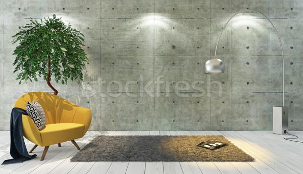 Konkretnych ściany strych stylu żółty Zdjęcia stock © sedatseven