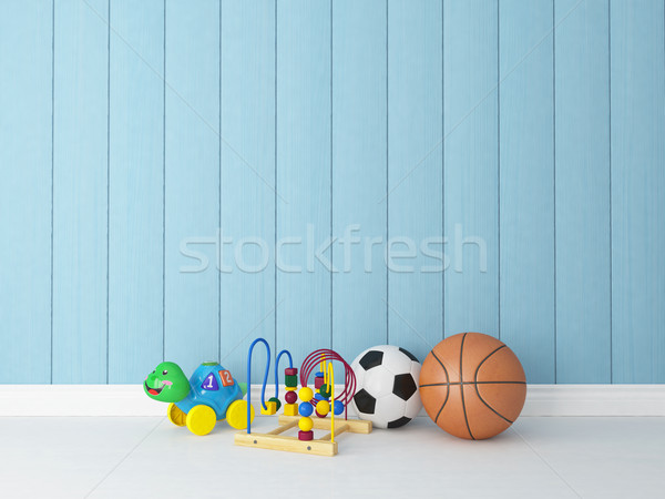 toys with blue wooden background Stock photo © sedatseven