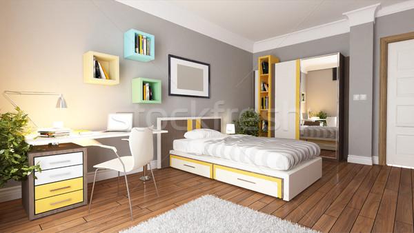 Genç genç yatak odası dizayn fikir iç mimari Stok fotoğraf © sedatseven