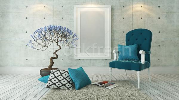 Stok fotoğraf: Beyaz · resim · kareler · mavi · beton · duvar