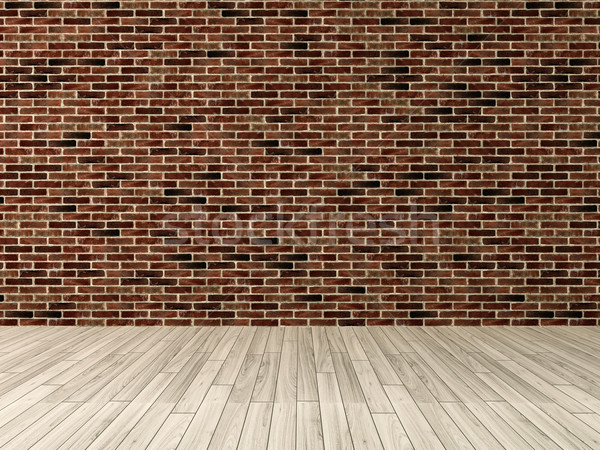 red brick wall with wooden floor rendering Stock photo © sedatseven