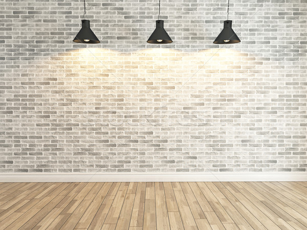 white brick wall decoration under the three spot light rendering Stock photo © sedatseven