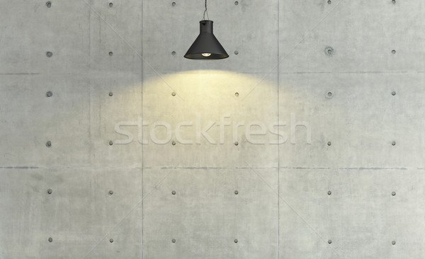 concrete wall loft style decor with under light, background, tem Stock photo © sedatseven
