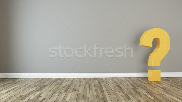 solid 3d questions marks in the empty room Stock photo © sedatseven