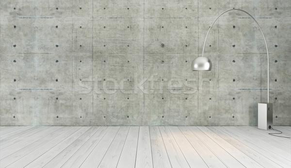 concrete wall loft style decor with floor light, background, tem Stock photo © sedatseven