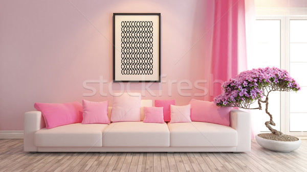 pink living room or saloon interior design rendering Stock photo © sedatseven