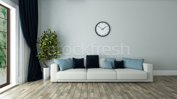 blue wall living room with watch Stock photo © sedatseven