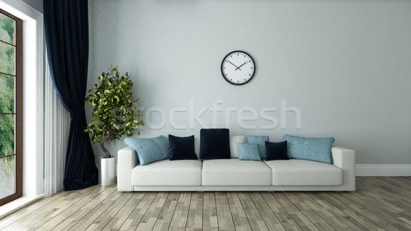 Kék fal nappali óra belsőépítészet ülés Stock fotó © sedatseven