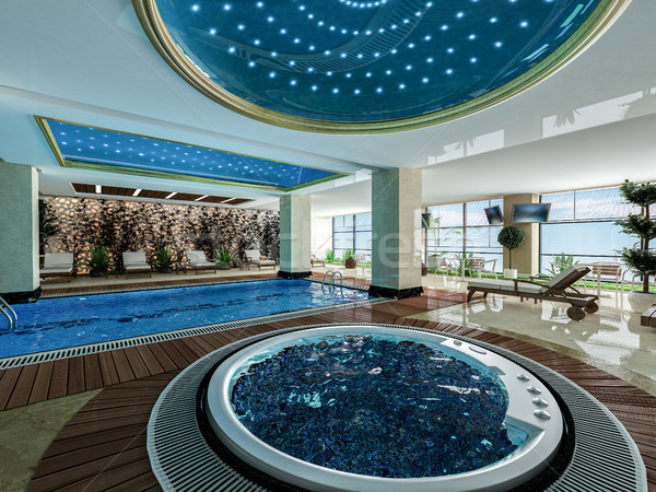 indoor swimming pool and jacuzzi design idea Stock photo © sedatseven