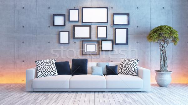 Oturma odası iç mimari beton duvar resim çerçevesi ışık Stok fotoğraf © sedatseven