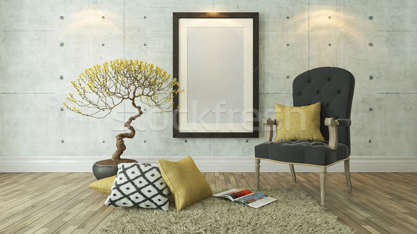 black picture frames with gray bergere and yellow pillow backgro Stock photo © sedatseven