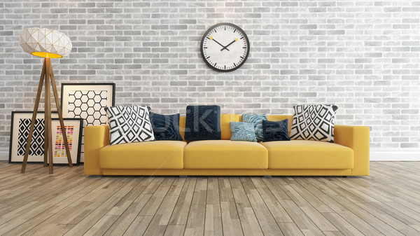 living room with big watch on white brick wall 3d rendering Stock photo © sedatseven
