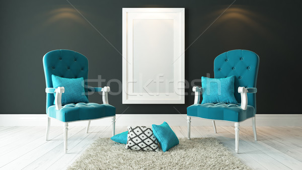 white picture frames with blue bergeres and dark gray plaster wa Stock photo © sedatseven