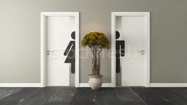 Beyaz tuvalet kapılar erkek kadın duvar Stok fotoğraf © sedatseven