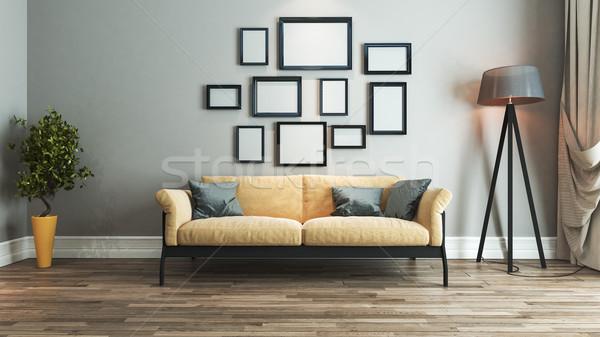Stok fotoğraf: Oturma · odası · iç · mimari · fikir · sarı · siyah · koltuk