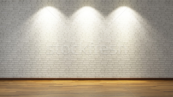white brick wall with three spot lights 3d rendering Stock photo © sedatseven