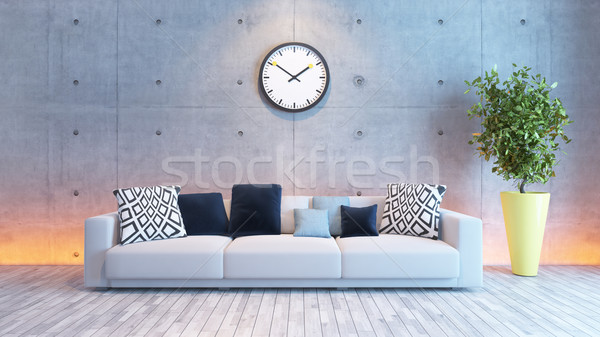 living room interior design with under light concrete wall Stock photo © sedatseven